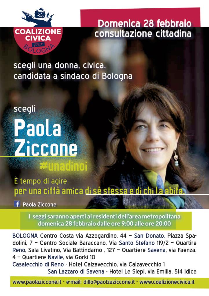 Paola Ziccone alle primarie della Coalizione Civica Bologna